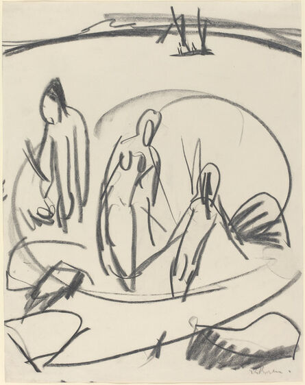 Ernst Ludwig Kirchner, 'Three Bathers in the Sea', ca. 1914