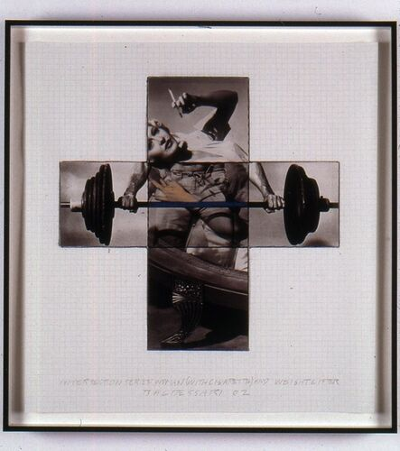 John Baldessari, 'Intersection Series: Woman (With Cigarette) and Weight Lifter (Maquette)', 2002