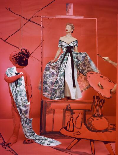 Horst P. Horst, 'Lisa Fonssagrives, Dress by Pierre Balmain, Background by Marcel Vertes', 1953