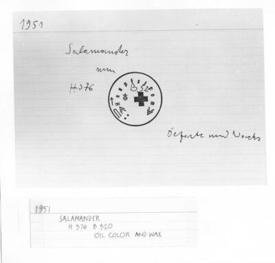 Joseph Beuys, 'Untitled Index Card (#7, Salamander, 1951) ', ca. 1970