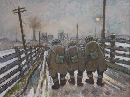 Norman Cornish, 'Three miners going on night shift'