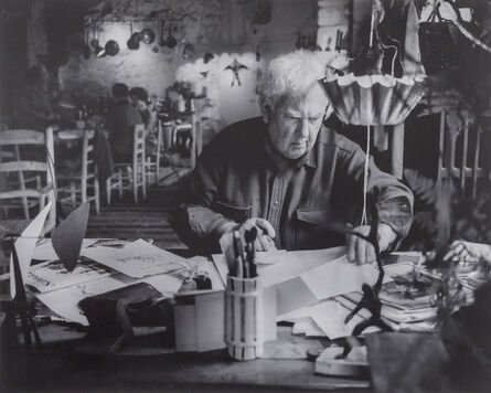 Pedro E. Guerrero, 'Alexander Calder Answers his Mail, Saché, France', 1965