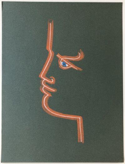 Jean Cocteau, 'Profile in Green ', ca. 1958