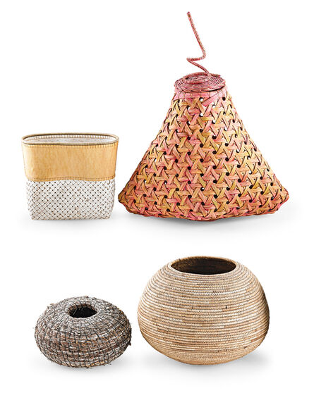 Maggie Henton, 'Four baskets, USA: large lidded basket by Maggie Henton, small basket by Dona Look, round basket by Neil Prince, and large round basket by unknown artist', 1980s-2000s