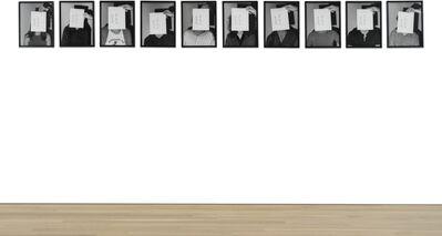 John Baldessari, 'Portrait: Various Identities Hidden with Name/Date Cards (8 AP. 74)', 1974