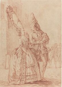 Pierre Thomas Le Clerc, 'A Lady and Gentleman with Exaggerated Headdresses', 1778/1780