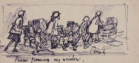 Norman Cornish, 'Prams passing my window'