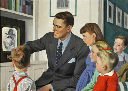 John Philip Falter, 'Father and children in front of TV ', ca. 1950