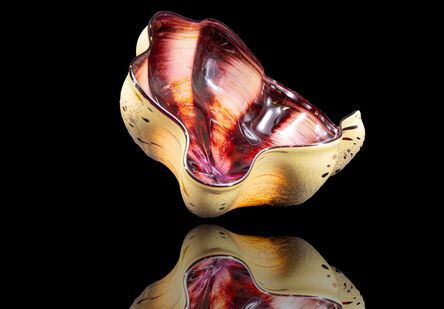 Dale Chihuly, 'Dale Chihuly Signed Eggplant Seaform with Black Lip Wrap Handblown Glass Contemporary Art Sculpture', 1992