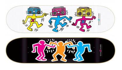 Keith Haring, 'Untitled (Boombox & Buddies) skateboard set of 2', ca. 2013