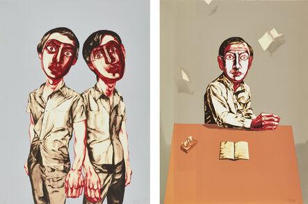 Zeng Fanzhi 曾梵志, 'Mask Series: two plates (Two Men; and Sitting Man)', 2006