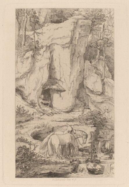 Moritz von Schwind, 'A Monk Leading Horses to Water', ca. 1845