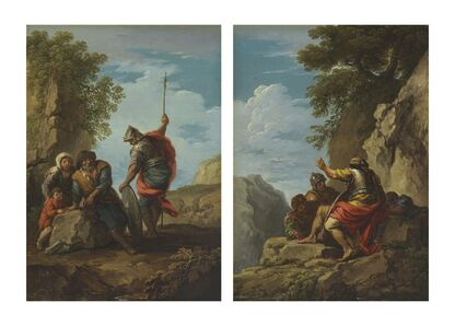 Andrea Locatelli, 'A soldier with a peasant family in a landscape; and Soldiers in a rocky landscape'