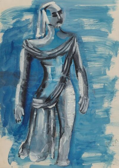 Irene Rice Pereira, 'Untitledd (Woman Raising Arms) and Untitled (Mercurius) (2 works)', 1956-1957