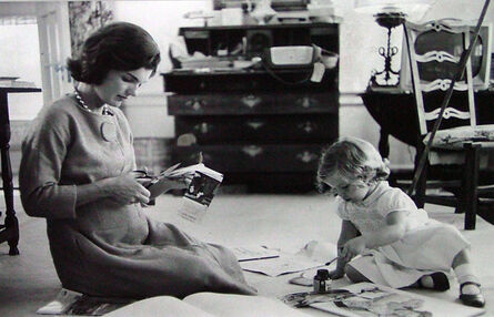 Alfred Eisenstaedt, 'Jacqueline Kennedy, Wife of Senator with Scissors Cutting Out Newspaper Clippings Next to Open Scrapbook as Her Young Daughter Caroline Toys with the Applicator from a Glue Bottle, At Home, Hyannis Port, MA', 1960