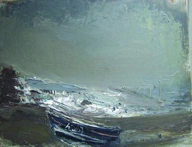 Joan Eardley, 'Grey Seascape with Black Boat, Catterline'