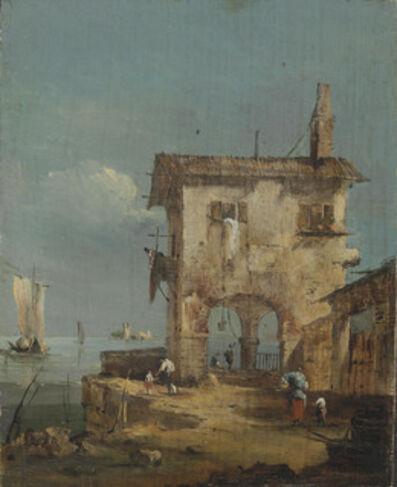 Circle of Francesco Guardi, 'Capriccio of a rustic house near a lagoon'
