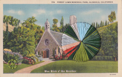 Natalie Ciccoricco, 'Forest Lawn - Embroidered Vintage Linen Postcard of Forest Lawn Memorial Park in Glendale, California', 2019