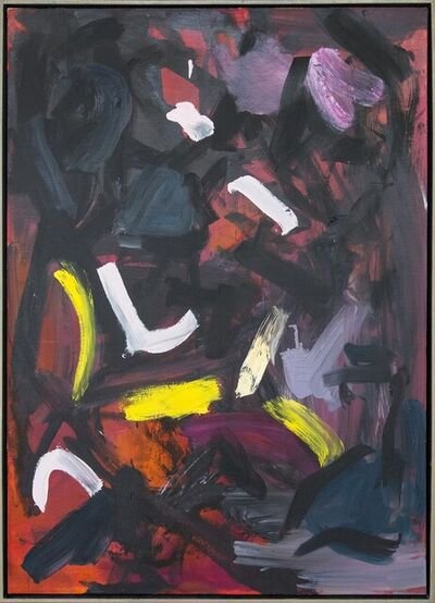 Scott Pattinson, 'Ouvert No 48 - bold, black, yellow, red, pink, gestural abstract oil on canvas', 2018