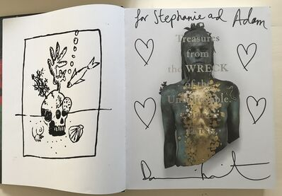 """Damien Hirst, 'Four heart drawings in book. """"Treasures from the Wreck of the Unbelievable"""".', 2017"""
