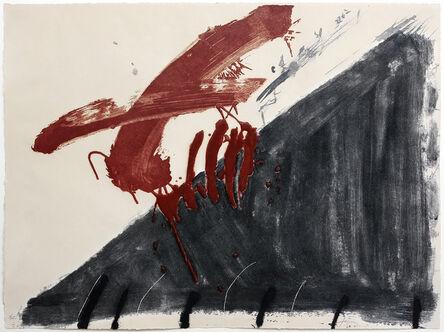 Antoni Tàpies, 'Negre i roig (Quatre ditades)', 1976