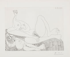 Pablo Picasso, 'Repos. Deux filles nues (Two Nudes Resting), plate 97 from Séries 156', 1971