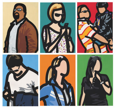 Julian Opie, 'Tourists (with beard, with blouse, with child, with phone, with ponytail, with watch)', 2014