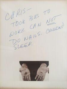 Chris Burden, 'Can not do nails', 1974