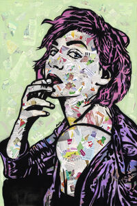 Amy Smith, 'I Woke Up Like This - Contemporary Street Art Portrait of Woman with Collage, Pink, Purple, Green ', 2019