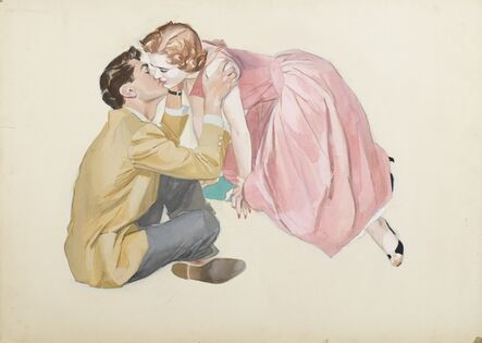 John Lagatta, 'A Woman in a Pink Dress Leaning Over and Kissing Seated Man', ca. 1950