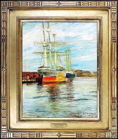 Aldro Thompson Hibbard, 'A.T. HIBBARD Original Painting Oil on Board Authentic Signed Harbor Art Aldro', 1916