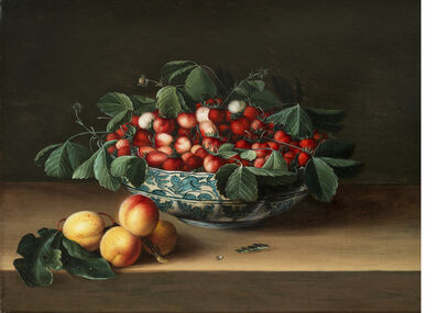 François Garnier, 'A Still Life of Wild Strawberries in a Wan-Li Bowl with Four Apricots on a Tabletop'