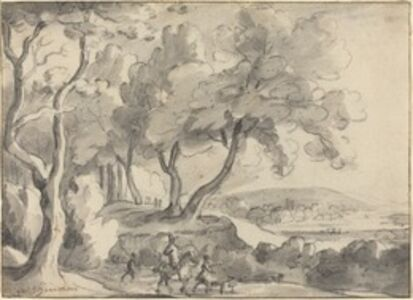Roelant Roghman, 'Horseman and Attendants at the Edge of a Wood'