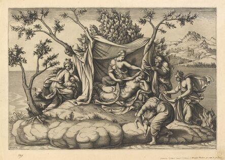 Diana Scultori after Giulio Romano, 'Latona Giving Birth to Apollo and Diana on the Island of Delos'