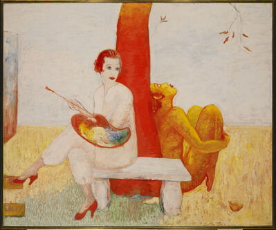 Florine Stettheimer, 'Self-Portrait with Palette (Painter and Faun)', ca. 1915