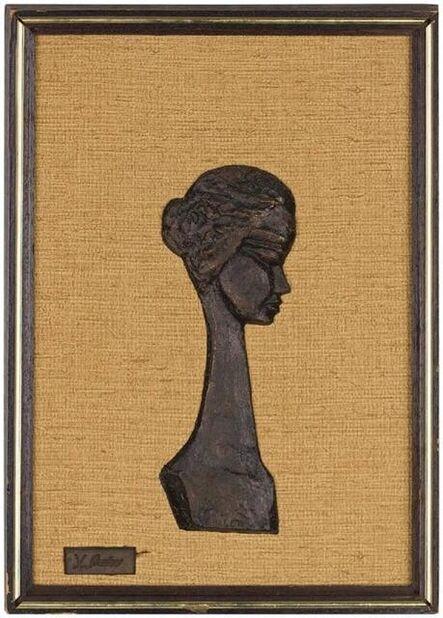 Yael Shalev, 'Portrait of an Israeli Girl Bronze Bas Relief Sculpture', 20th Century