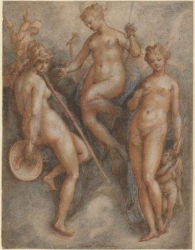 Jan van der Straet, 'Three Goddesses: Minerva, Juno and Venus', ca. 1587