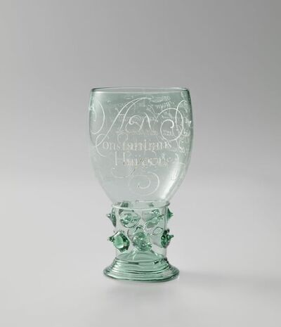 Anna Roemers Visscher, 'Wine Glass engraved with a poem to Constantijn Huygens', 1619