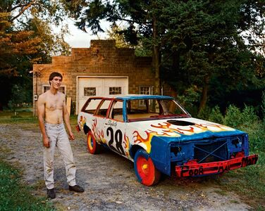 Joel Sternfeld, 'A Man Waiting for a Tow Truck to Take His Car to a Demolition Derby at the County Fair, South Hadly, Massachusetts, September 1998, the Tow Truck Never Came and He Was Unable to Race That Day', 1998