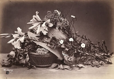 Charles Aubry, 'Still Life of Hat, Basket, Lilies and Other Flowers', ca. 1864