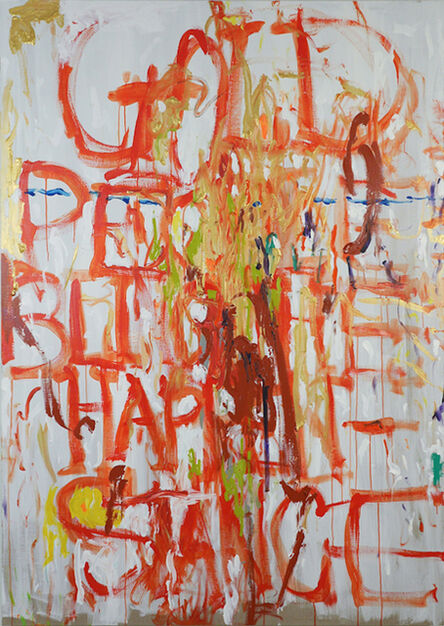 Pope.L, 'Gold People Bling The Happenstance, red, orange, brown, gold on linen canvas', 2014