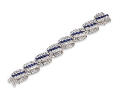 Unknown American, 'Diamond and sapphire swirl bracelet ', ca. 1960