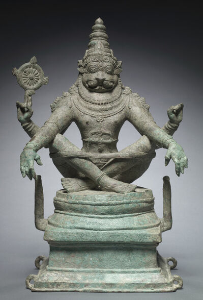 'Vishnu in his man-lion incarnation as Yoga-Narasimha. India; Tamil Nadu state', 1250