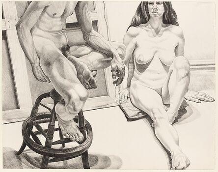 Philip Pearlstein, 'Two Nudes on Oak Stool with Canvas ', 1976