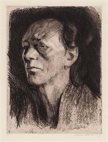 Käthe Kollwitz, 'Arbeiterfrau (Mit Dem Ohrring) (Klipstein 105; Knesebeck 112)', 1910