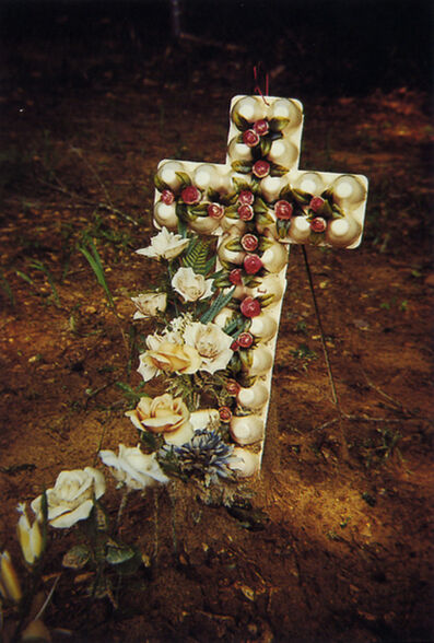 William Christenberry, 'Grave with Egg Carton Cross, Hale County, Alabama', 1975