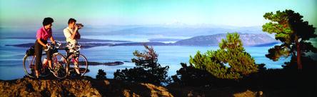 Bob and Ira Spring, 'Colorama 244,Mountain Bikers, Olympia National Park & Strait of San Juan De Fuca, Washington', Displayed 9/14/64–10/5/64