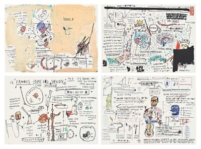 Jean-Michel Basquiat, 'Wolf Sausage, King Brand, Dog Leg Study, Undiscovered Genius', 1983
