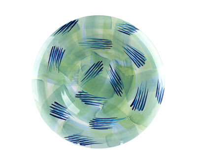 Piero Dorazio, 'Plate painted in green, blue and blue', 1989
