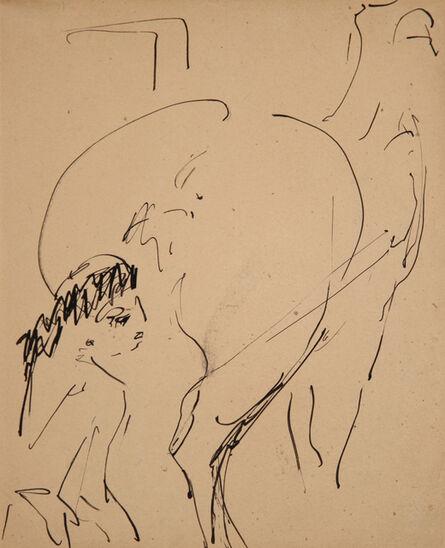 Ernst Ludwig Kirchner, 'Milly mit Pferd (Zirkus Schumann) (Milly with Horse (Circus Schumann)) ', 1911